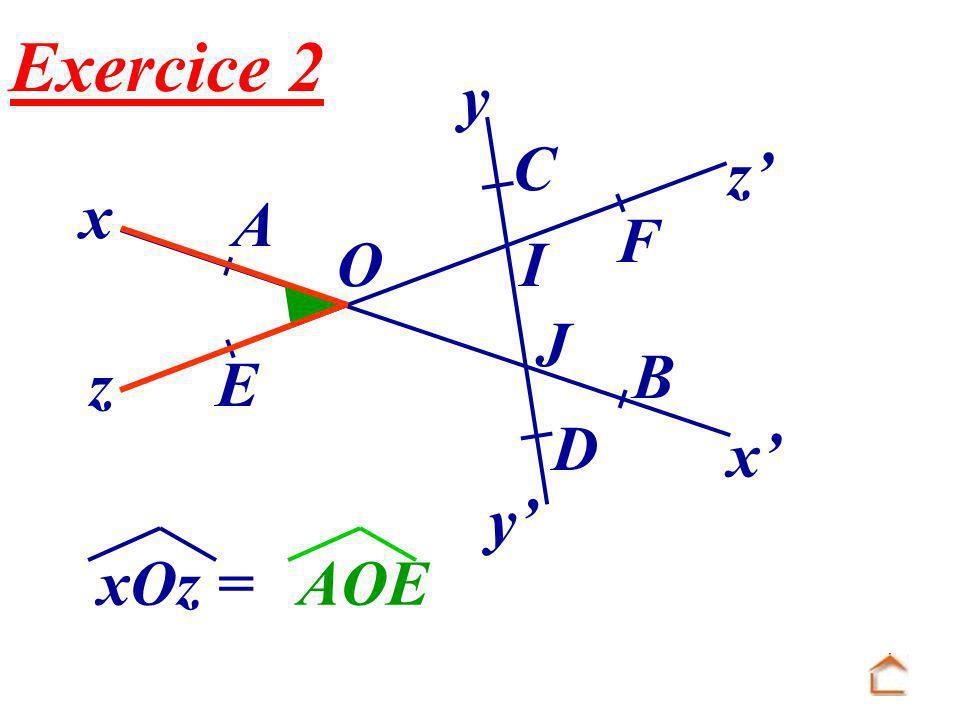 x x O E F B A z z y y C J I D Exercice 2 xOz =AOE