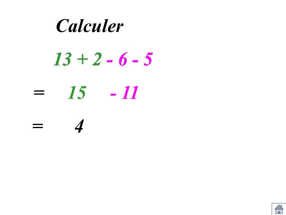 13 + 2 - 6 - 5 Calculer 13 + 2 - 6 - 5 =15- 11 =4