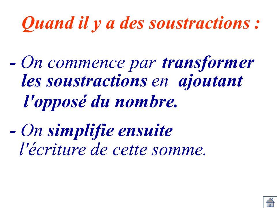 - On commence par Quand il y a des soustractions : les soustractions en l'opposé du nombre. - On simplifie ensuite l'écriture de cette somme. transfor