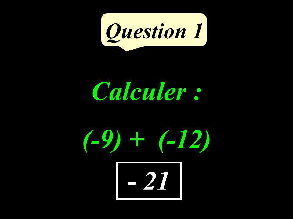 Calculer : (-9) + (-12) Question 1 - 21