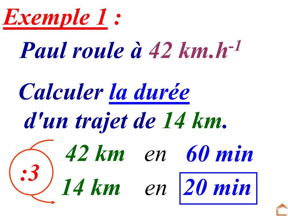 Paul roule à 42 km.h -1 Calculer la durée d'un trajet de 14 km. 42 kmen 60 min 14 kmen20 min Exemple 1 : :3