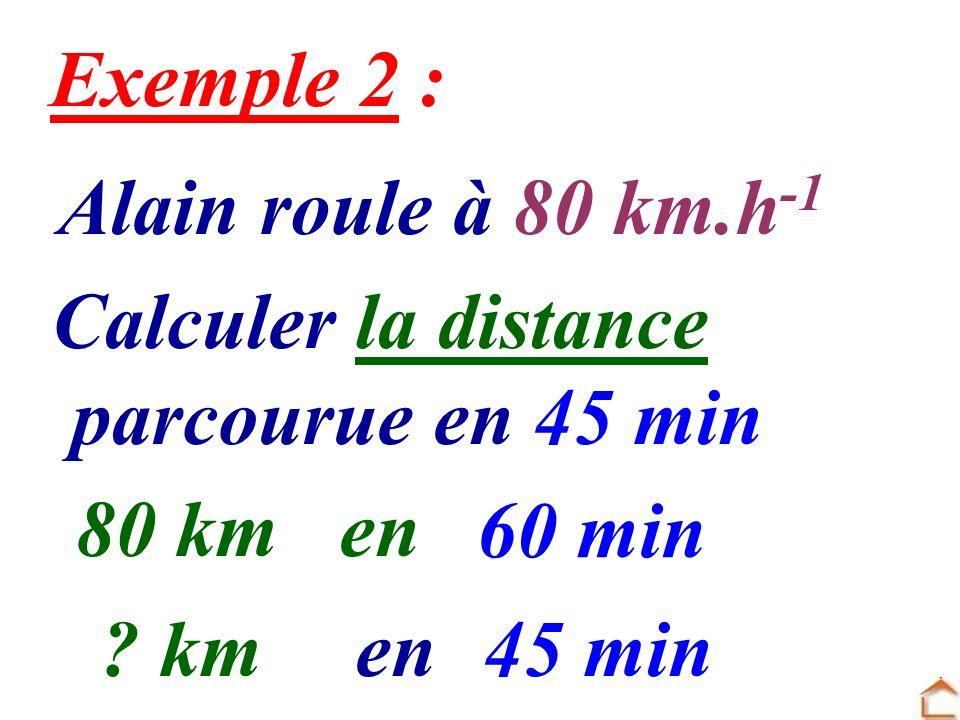 Alain roule à 80 km.h -1 Calculer la distance parcourue en 45 min 80 kmen 60 min ? kmen45 min Exemple 2 :