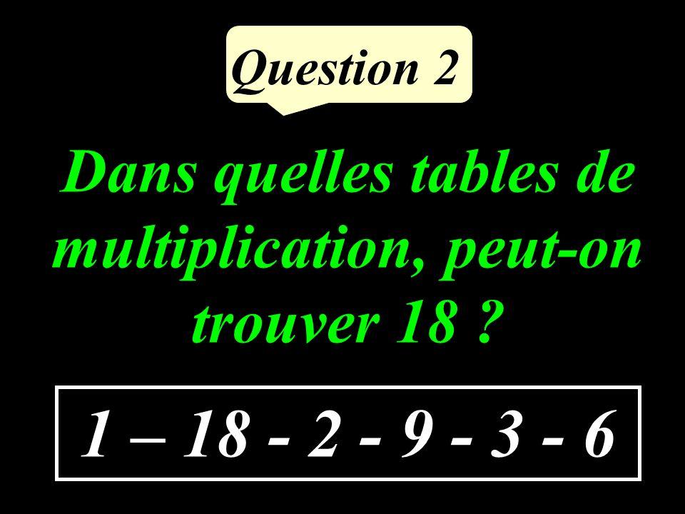 Question 2 1 – 18 - 2 - 9 - 3 - 6 Dans quelles tables de multiplication, peut-on trouver 18 ?