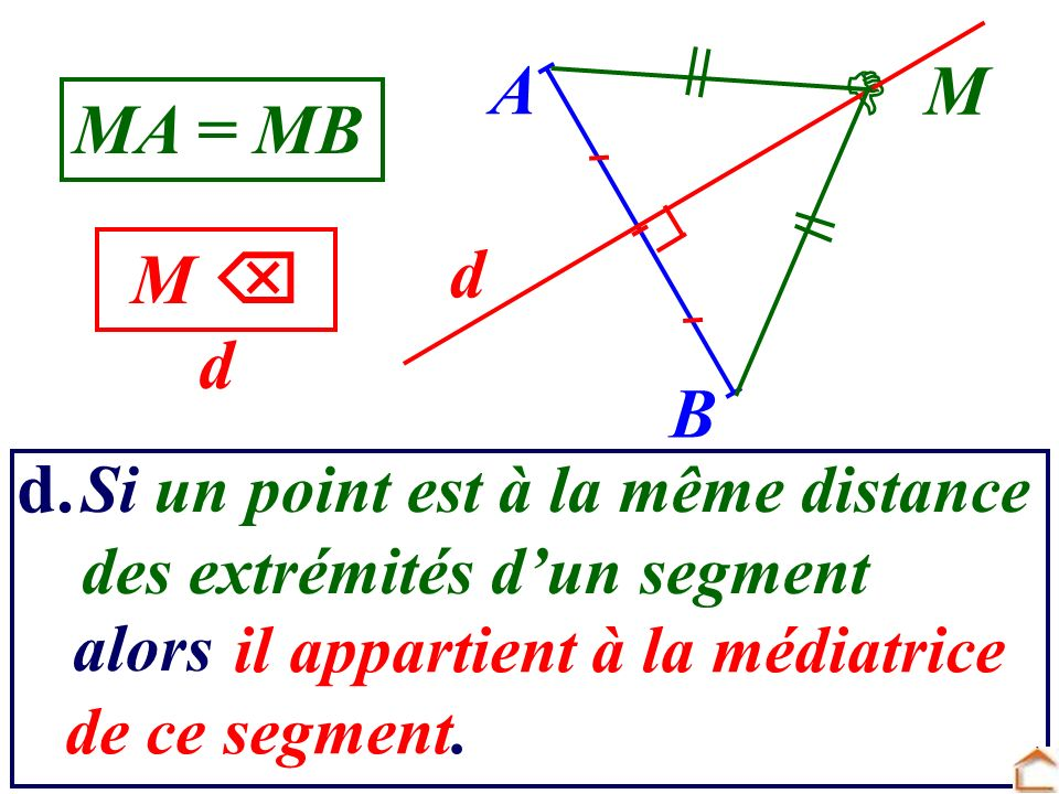 M A B d il appartient à la médiatrice de ce segment. d. Si un point est à la même distance des extrémités dun segment MA = MB M d alors