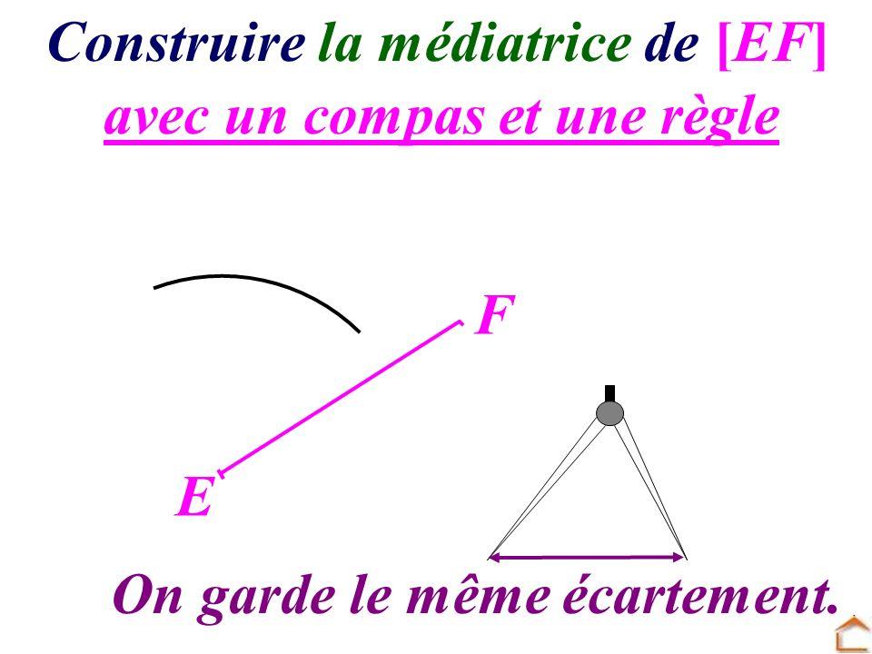 avec un compas et une règle Construire la médiatrice de [EF] E F On garde le même écartement.
