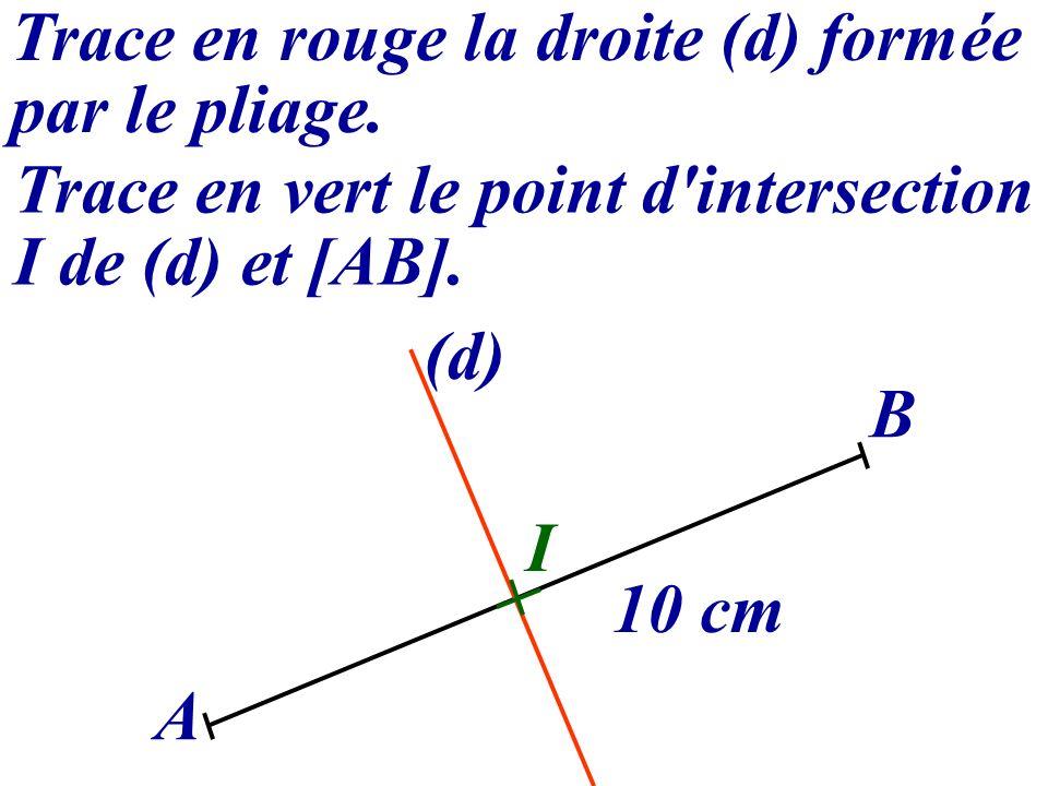 Trace en rouge la droite (d) formée par le pliage. Trace en vert le point d'intersection I de (d) et [AB]. A B 10 cm (d) I
