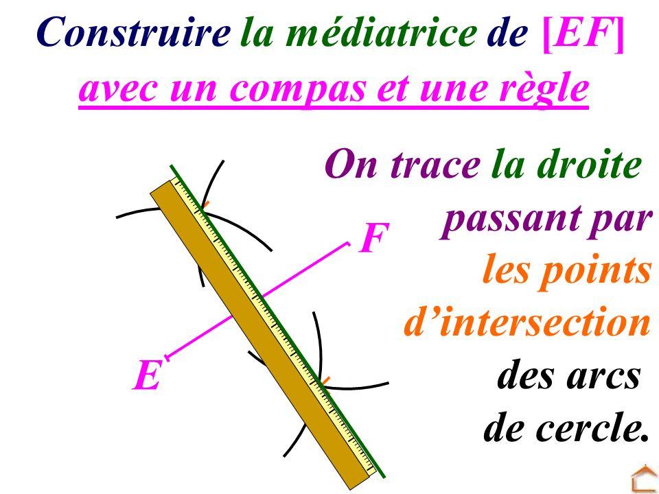 avec un compas et une règle Construire la médiatrice de [EF] E F On trace la droite passant par les points d intersection des arcs de cercle.