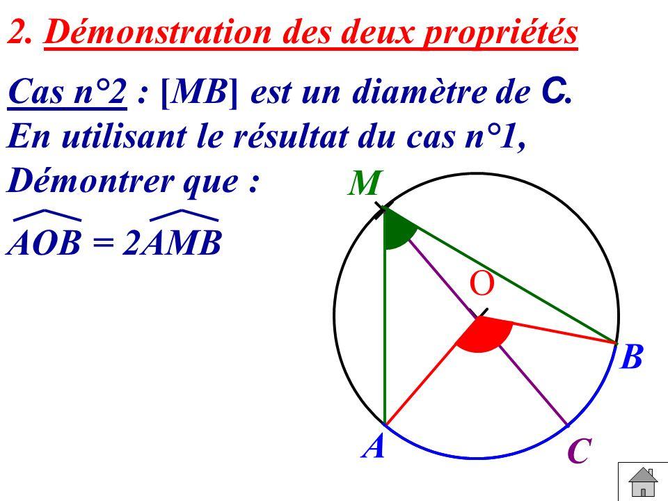 2. Démonstration des deux propriétés Cas n°2 : [MB] est un diamètre de C. En utilisant le résultat du cas n°1, Démontrer que : AOB = 2AMB B A M O C