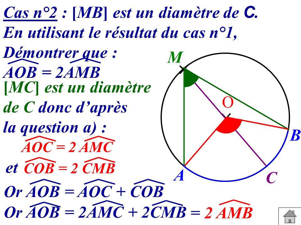 Cas n°2 : [MB] est un diamètre de C. En utilisant le résultat du cas n°1, Démontrer que : AOB = 2AMB [MC] est un diamètre de C donc daprès la question