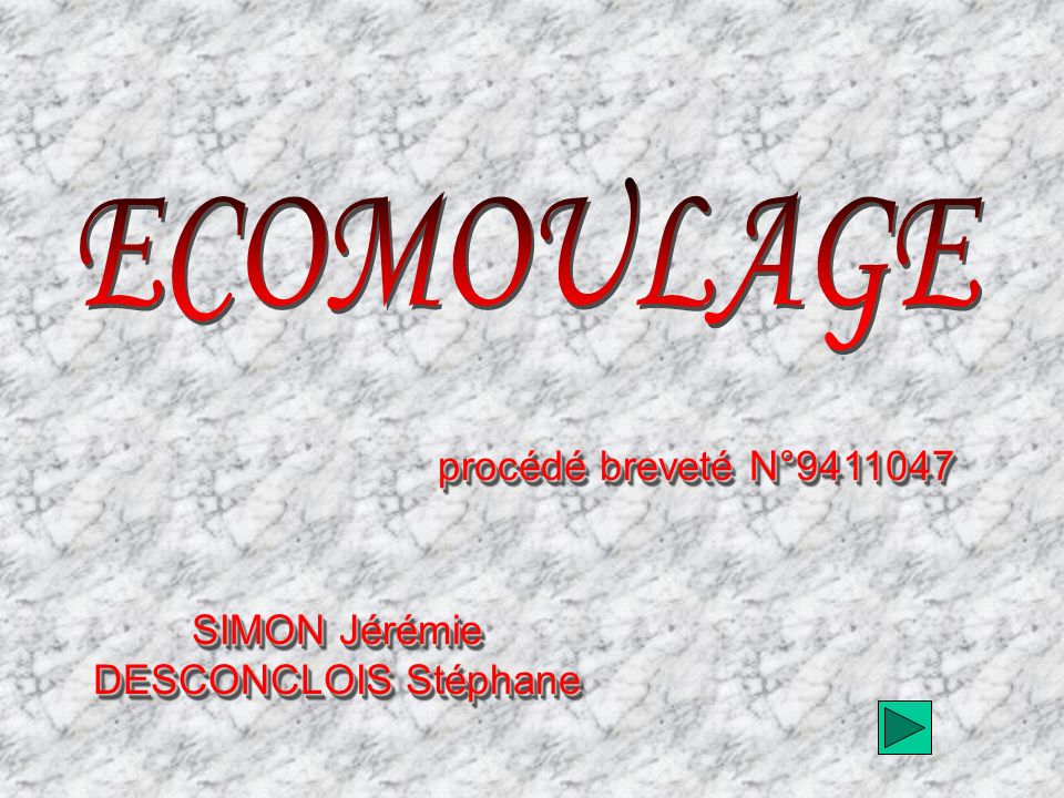 SIMON Jérémie DESCONCLOIS Stéphane SIMON Jérémie DESCONCLOIS Stéphane procédé breveté N°9411047