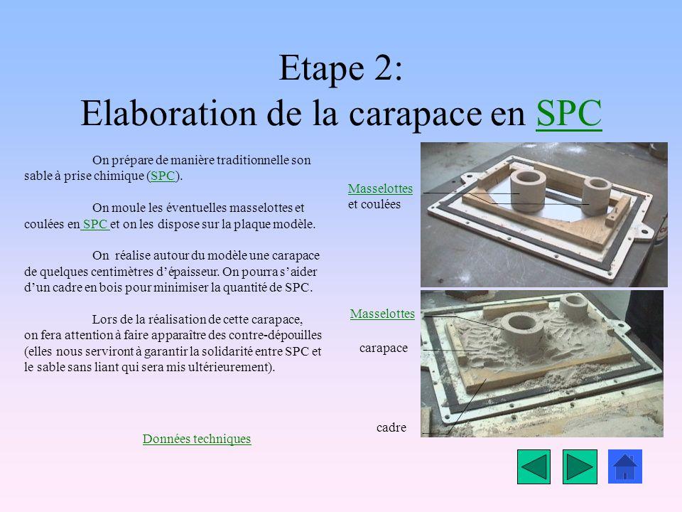 Etape 2: Elaboration de la carapace en SPCSPC Masselottes et coulées carapace cadre On prépare de manière traditionnelle son sable à prise chimique (SPC).SPC On moule les éventuelles masselottes et coulées en SPC et on les dispose sur la plaque modèle.