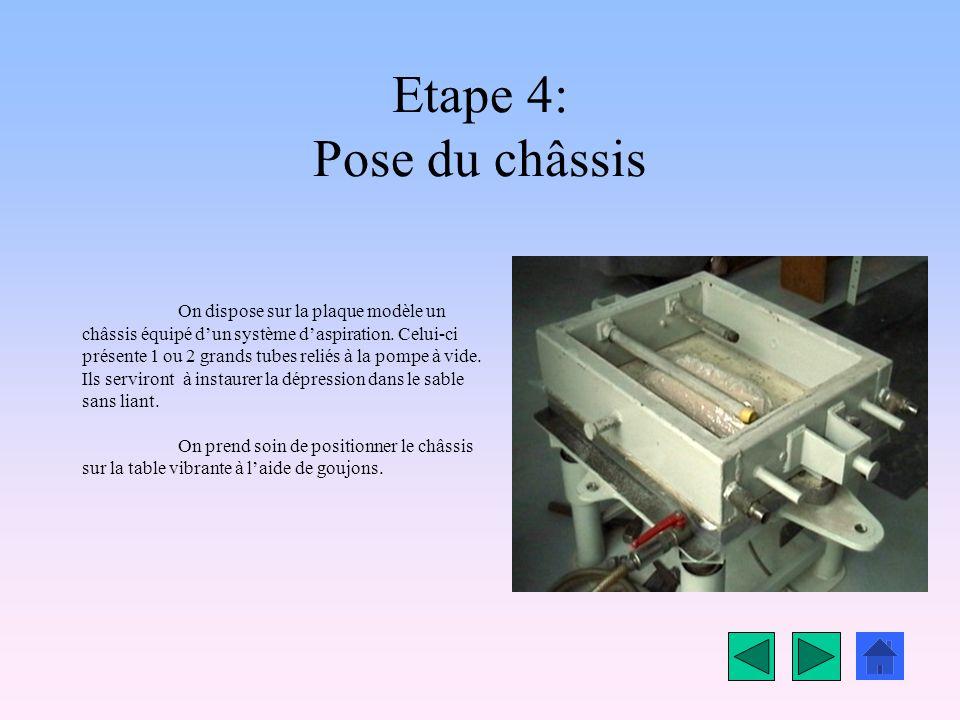 Etape 4: Pose du châssis On dispose sur la plaque modèle un châssis équipé dun système daspiration.