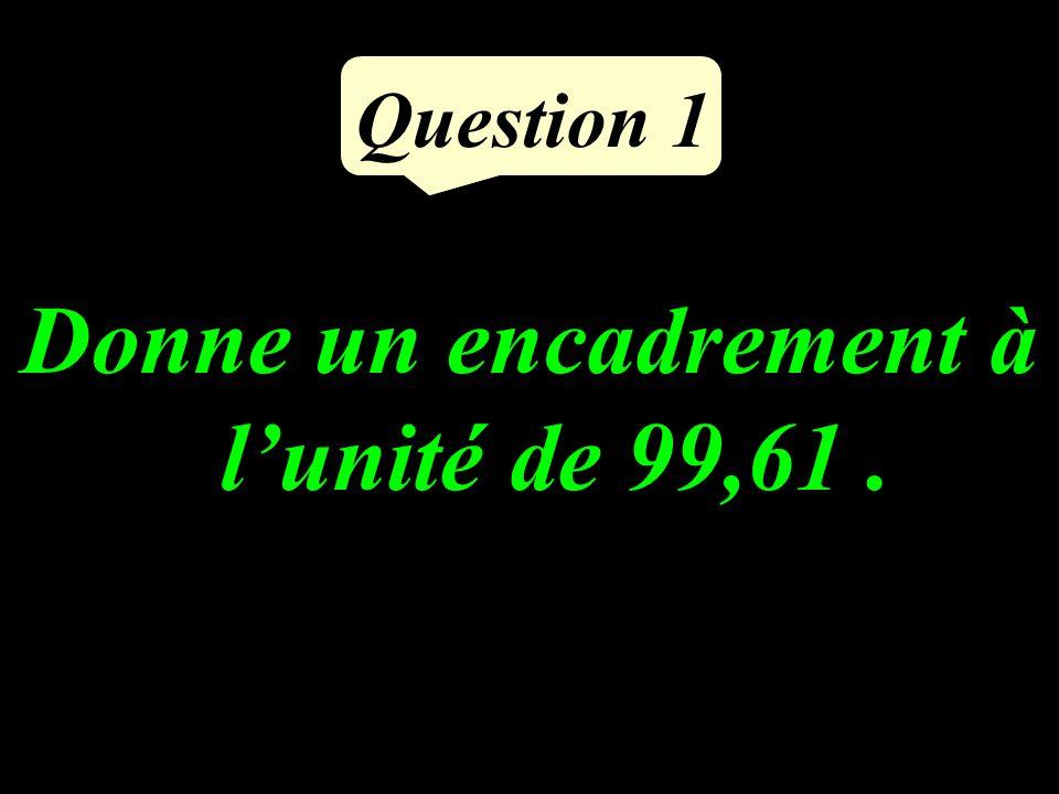 Question 1 Donne un encadrement à lunité de 99,61.