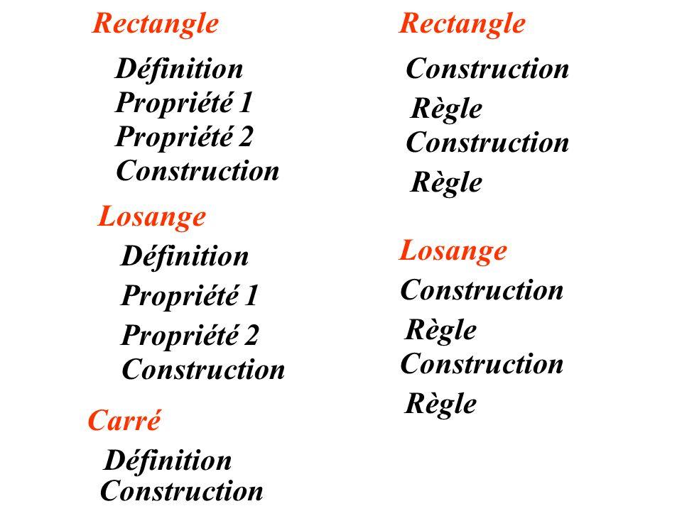Rectangle Définition Propriété 1 Propriété 2 Losange Définition Propriété 1 Propriété 2 Construction Carré Définition Construction Règle Rectangle Losange Construction Règle Construction Règle Construction Règle