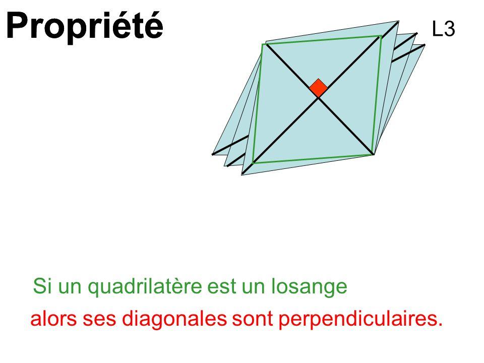 Propriété Si un quadrilatère est un losange alors ses diagonales sont perpendiculaires. L3