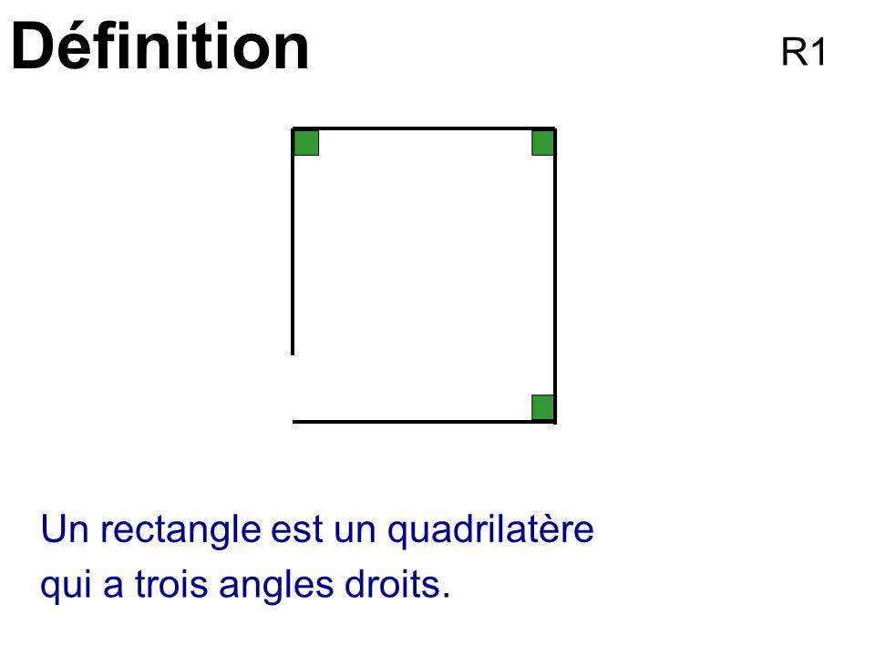 Définition Un rectangle est un quadrilatère qui a trois angles droits. R1