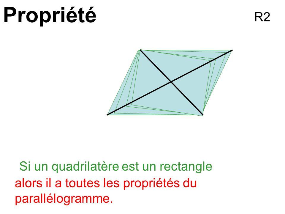 Propriété Si un quadrilatèreest un rectangle alors il a toutes les propriétés du parallélogramme. R2