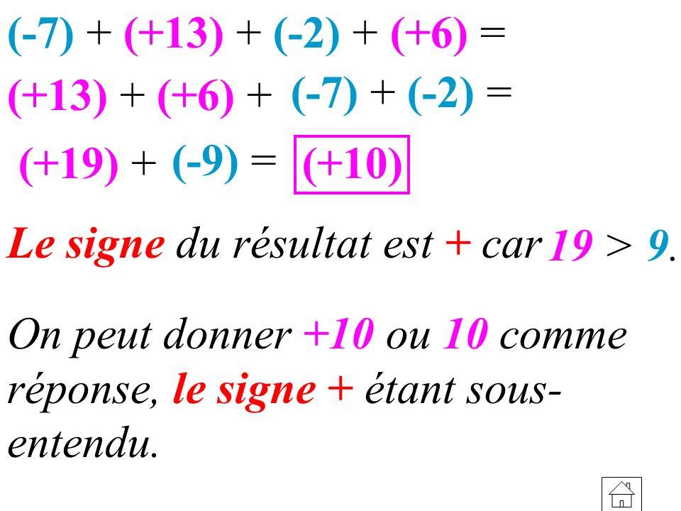 (+13) + (+6) + (+19) + (-7) + (+13) + (-2) + (+6) = (+10) On peut donner +10 ou 10 comme réponse, le signe + étant sous- entendu. 19 > 9. Le signe du