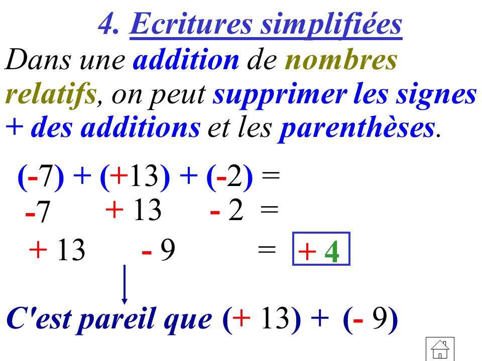 4. Ecritures simplifiées Dans une addition de nombres relatifs, on peut supprimer les signes + des additions et les parenthèses. (-7) + (+13) + (-2) =