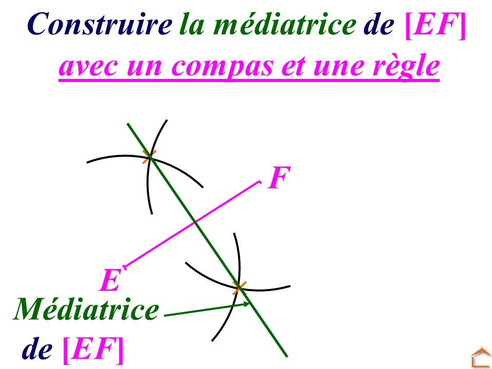 avec un compas et une règle Construire la médiatrice de [EF] E F Médiatrice de [EF]