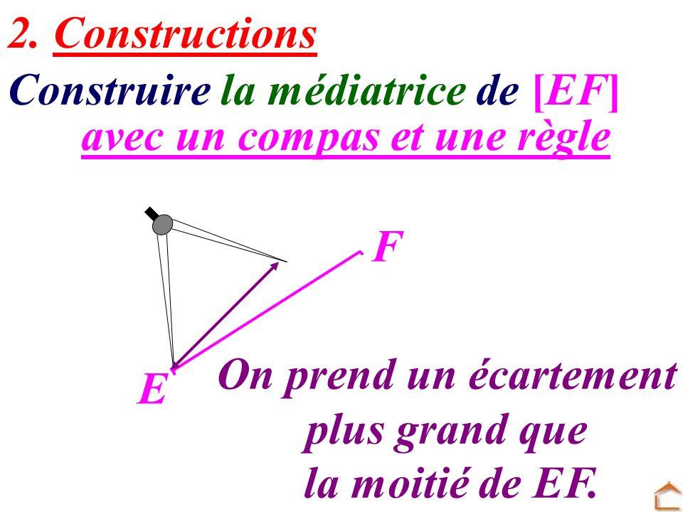 avec un compas et une règle Construire la médiatrice de [EF] 2. Constructions E F On prend un écartement plus grand que la moitié de EF.