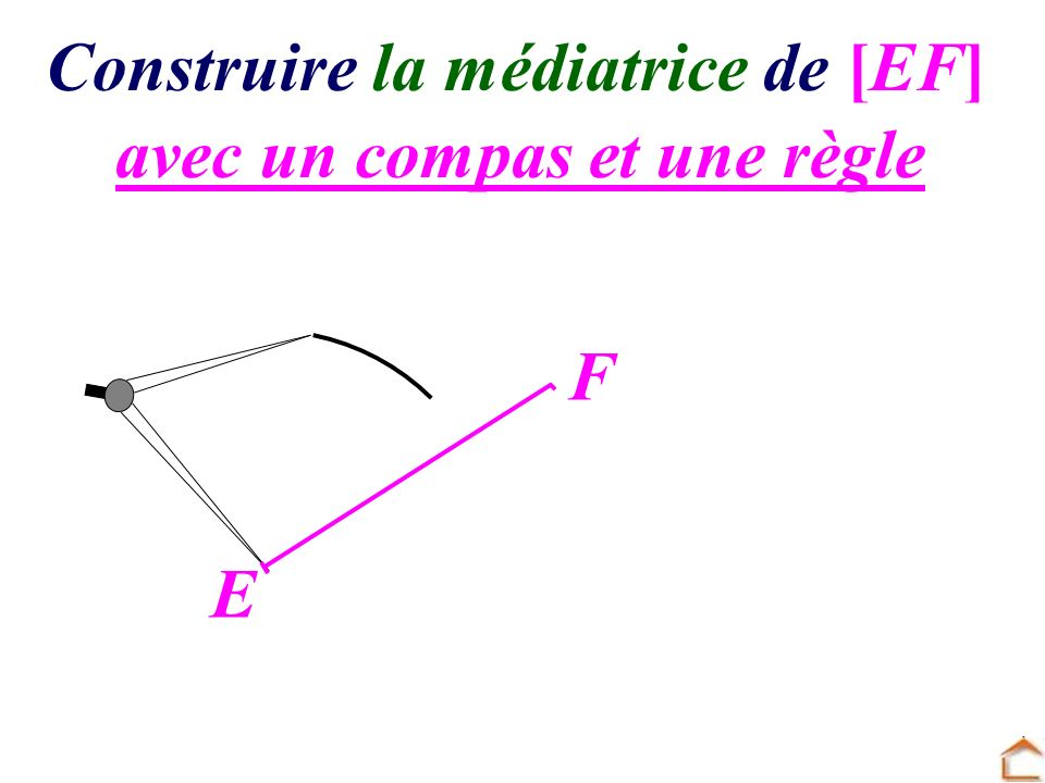 Construire la médiatrice de [GH] avec une règle et une équerre G H On trace la droite d perpendiculaire à [GH] passant par son milieu I.