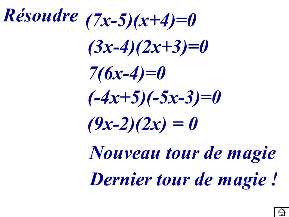 Résoudre (7x-5)(x+4)=0 (3x-4)(2x+3)=0 7(6x-4)=0 (-4x+5)(-5x-3)=0 Dernier tour de magie ! (9x-2)(2x) = 0 Nouveau tour de magie