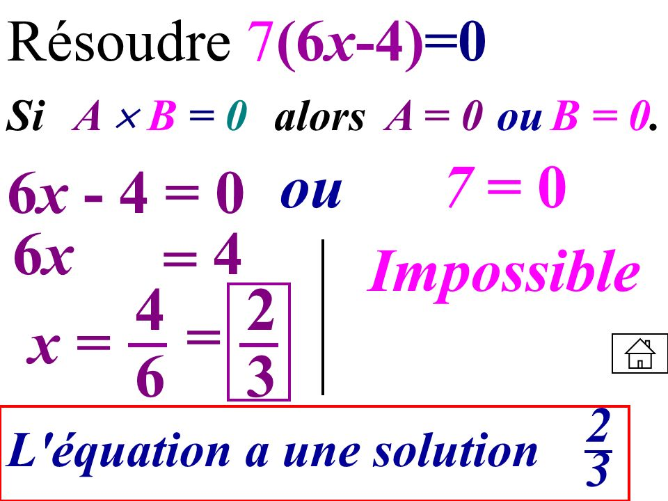 Résoudre 7(6x-4)=0 Si A B = 0 alors A = 0ouB = 0. 6x - 4 = 0 ou7 = 0 6x6x = 4 Impossible x = 4 6 L'équation a une solution 2323 2 3 =