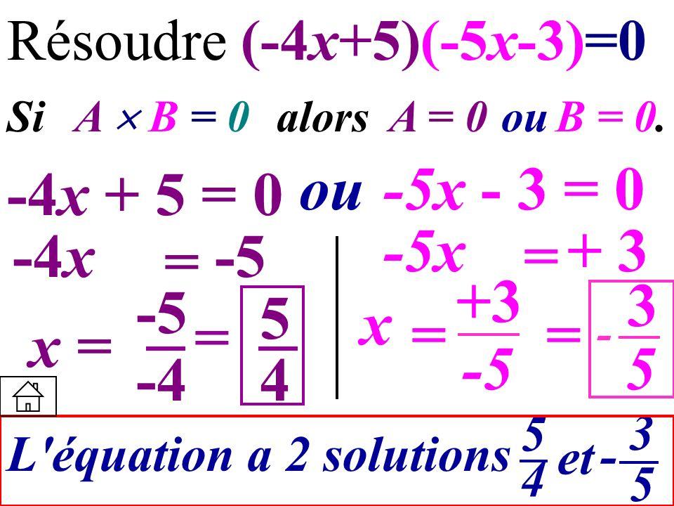 +3 Résoudre (-4x+5)(-5x-3)=0 Si A B = 0 alors A = 0ouB = 0. -4x + 5 = 0 ou-5x - 3 = 0 -4x = -5 -5x = + 3 x = -5 -4 x = -5 L'équation a 2 solutions 545