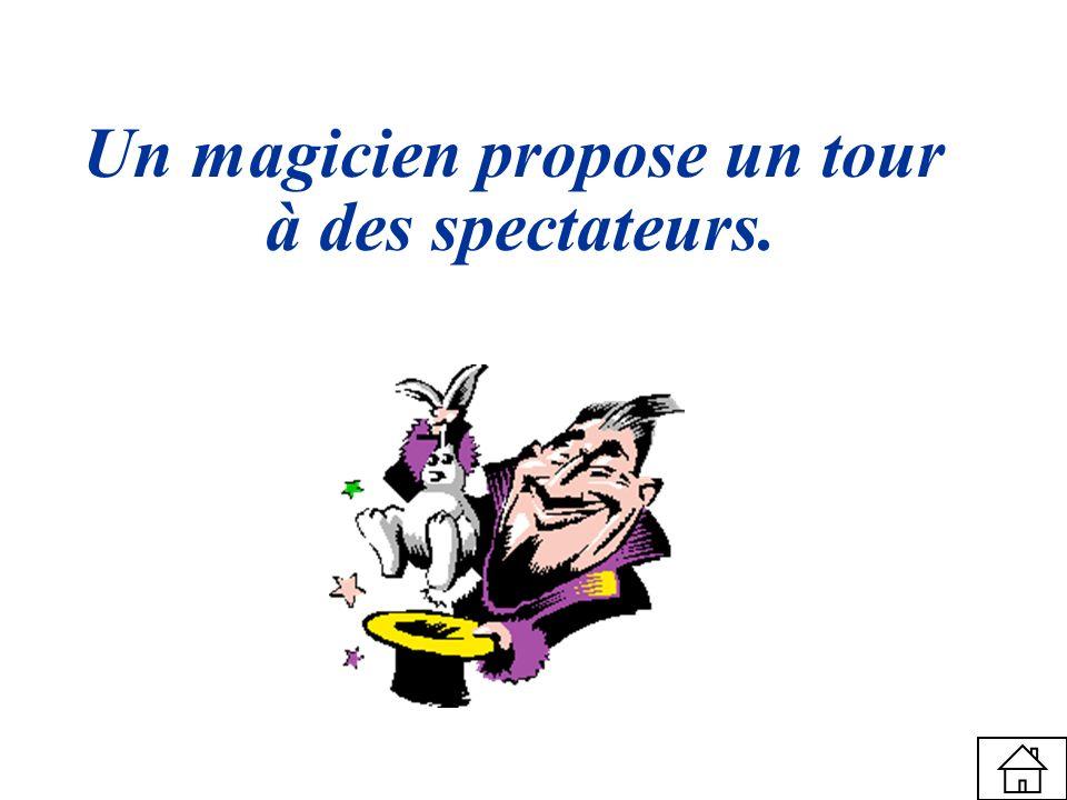 Un magicien propose un tour à des spectateurs.
