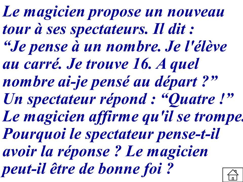 Le magicien propose un nouveau tour à ses spectateurs. Il dit : Je pense à un nombre. Je l'élève au carré. Je trouve 16. A quel nombre ai-je pensé au