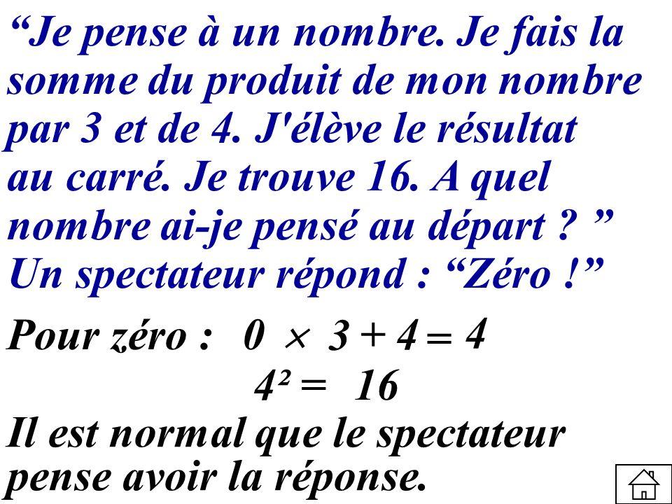 Je pense à un nombre. Je fais la somme du produit de mon nombre par 3 et de 4. J'élève le résultat au carré. Je trouve 16. A quel nombre ai-je pensé a