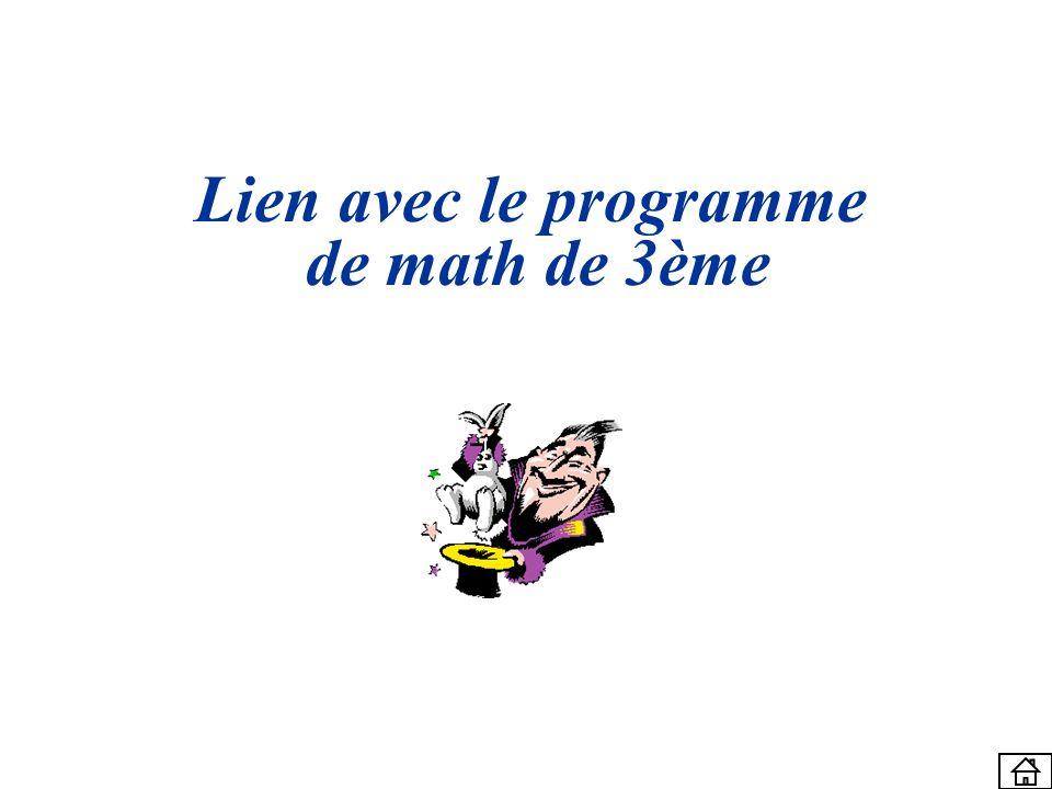Lien avec le programme de math de 3ème