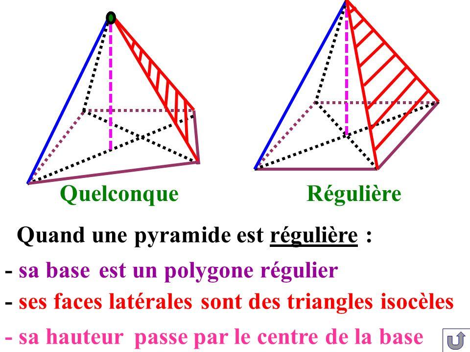 - sa hauteur Quand une pyramide est régulière : est un polygone régulier- sa base - ses faces latéralessont des triangles isocèles passe par le centre
