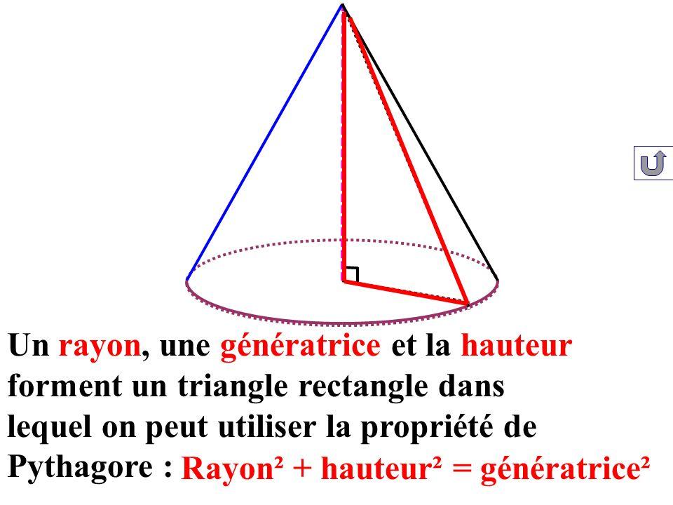 Un rayon, une génératrice et la hauteur forment un triangle rectangle dans lequel on peut utiliser la propriété de Pythagore : Rayon² + hauteur² = gén