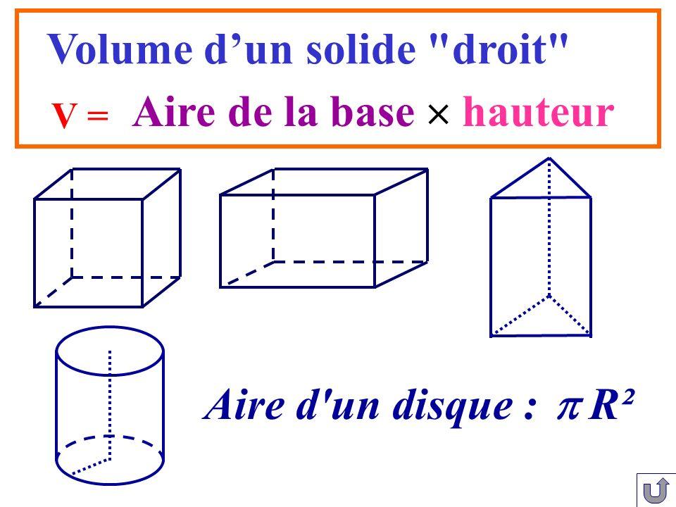 Aire de la base hauteur V = Volume dun solide
