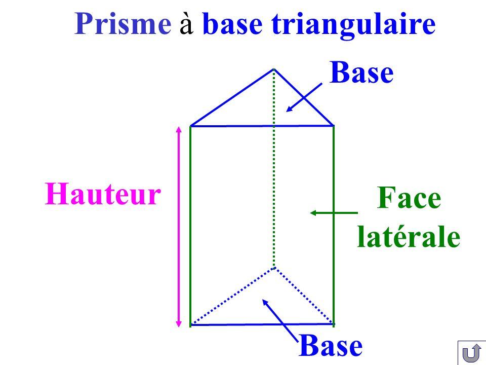 Face latérale Hauteur Base Prisme à base triangulaire