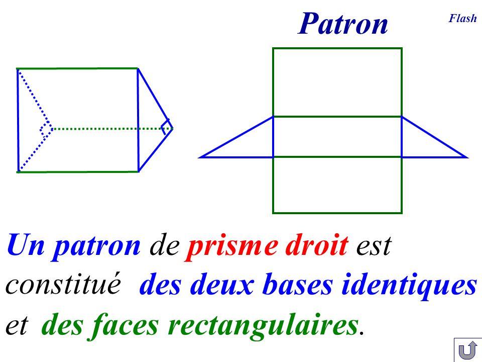 Un patron de prisme droit est constitué des deux bases identiques des faces rectangulaires. et Flash Patron