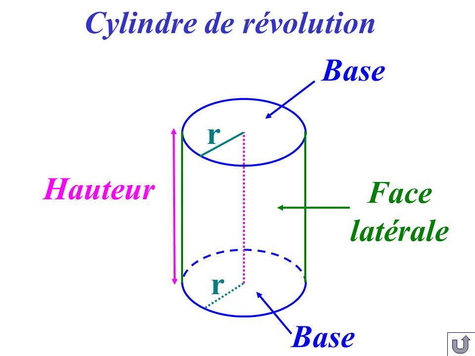 Face latérale Hauteur Base Cylindre de révolution r r