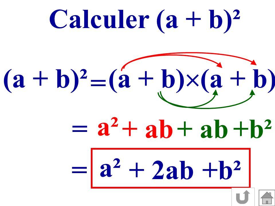 Calculer (a + b)² (a + b)² (a + b) = a² + ab +b² = a² + 2ab+b² =