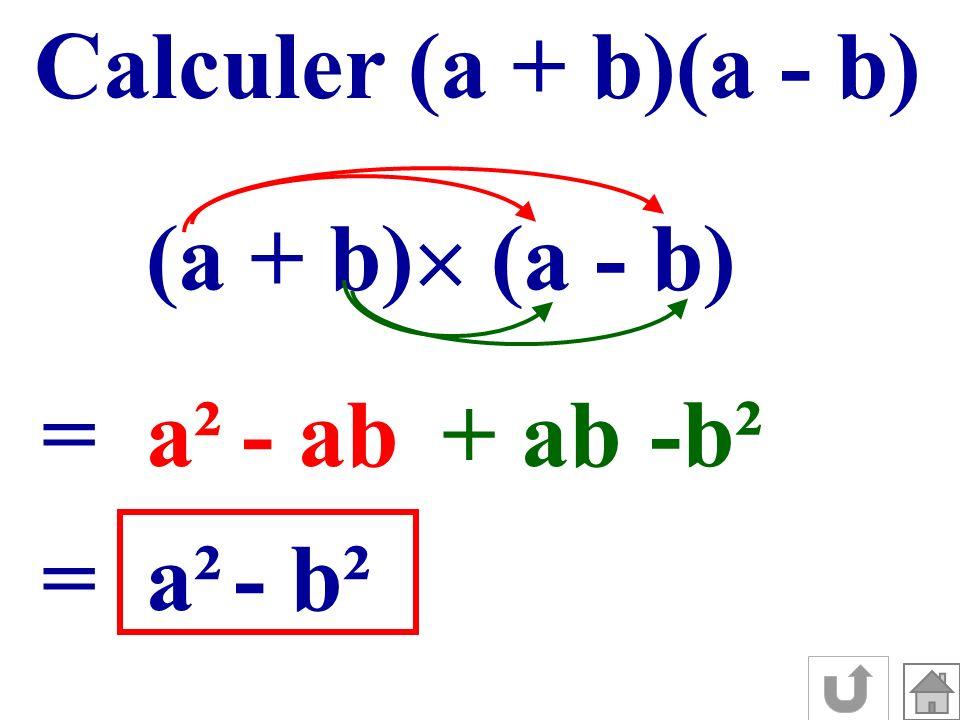 Calculer (a + b)(a - b) (a + b) (a - b) =a²- ab+ ab -b² =a²- b²
