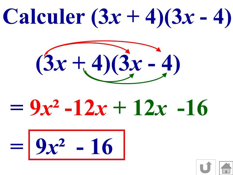 Calculer (3x + 4)(3x - 4) (3x + 4)(3x - 4) =9x²9x²-12 x + 12 x -16 =9x²9x²