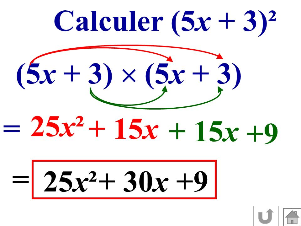 Calculer (5x + 3)² (5x + 3) = 25x² + 15x +9 = 25x²+ 30x+9