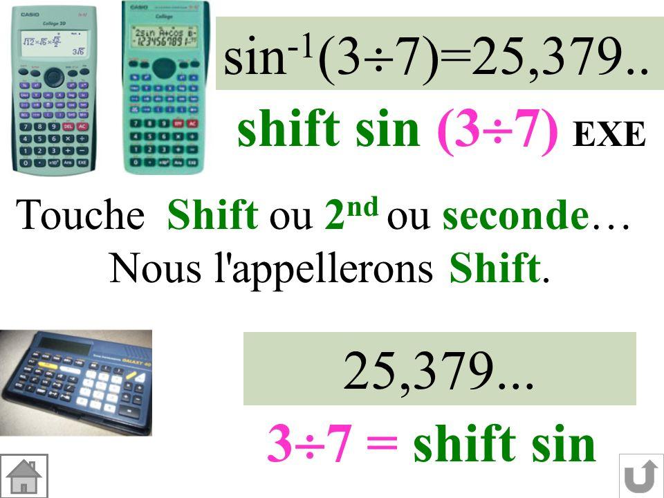 Dans le triangle RST rectangle en R : sin RST = RT ST sin RST = 3737 Sinus de langle Nombre entre 0 et 1 25° RST Angle aigu entre 0° et 90° à 1° près.