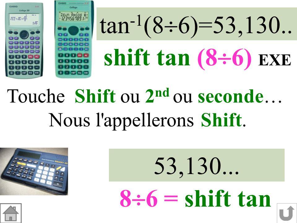 Dans le triangle LMP rectangle en M : tan MLP = MP LM tan MLP = 8686 Tangente de langle Nombre positif 53° MLP Angle aigu entre 0° et 90° à 1° près. 2