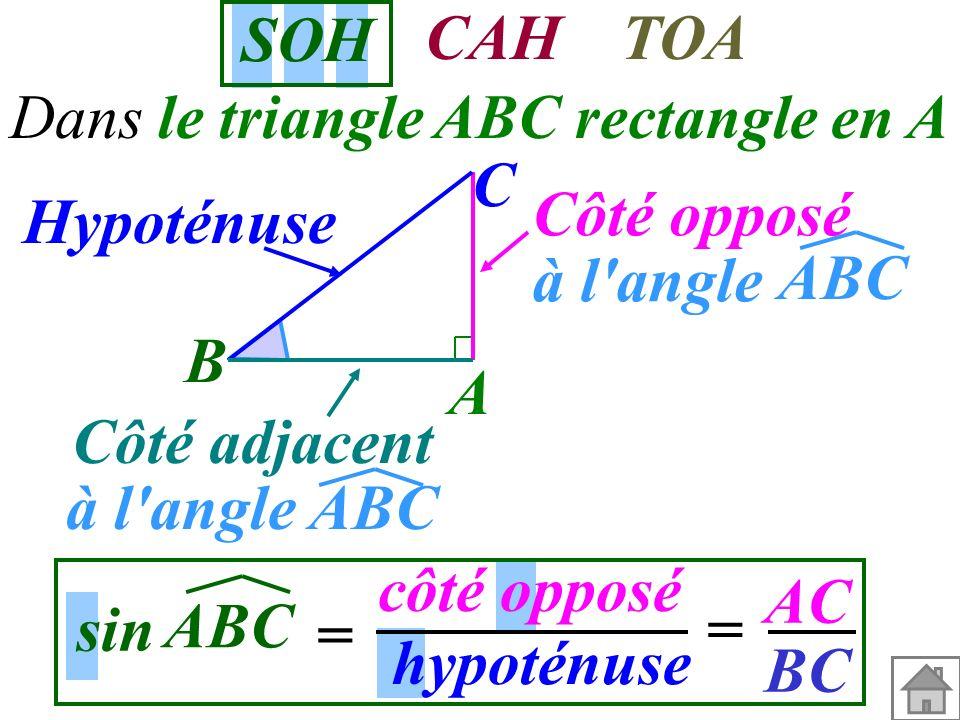 Trigonométrie Formules SOHCAHTOA Calcul de la mesure d'un angle Exemple 1 cours Exemple 2 Calcul d'une longueur Exemple 3 cours Exemple 5 Exemple 4 co