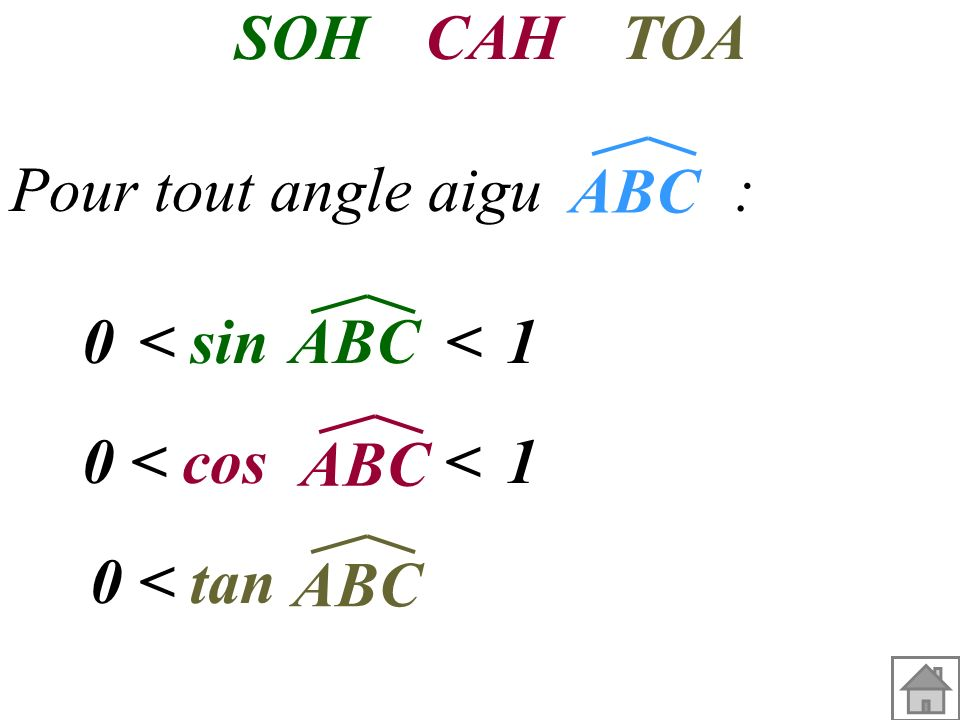 Dans le triangle ABC rectangle en A A B C Côté adjacent à l'angle ABC Hypoténuse Côté opposé à l'angle ABC tan = côté opposé SOHCAH TOA côté adjacent