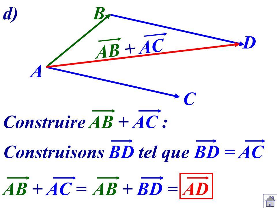 A B C Construire AB + AC : Construisons BD tel que BD = AC D AB + AC =ADAB +BD = AB + AC d)