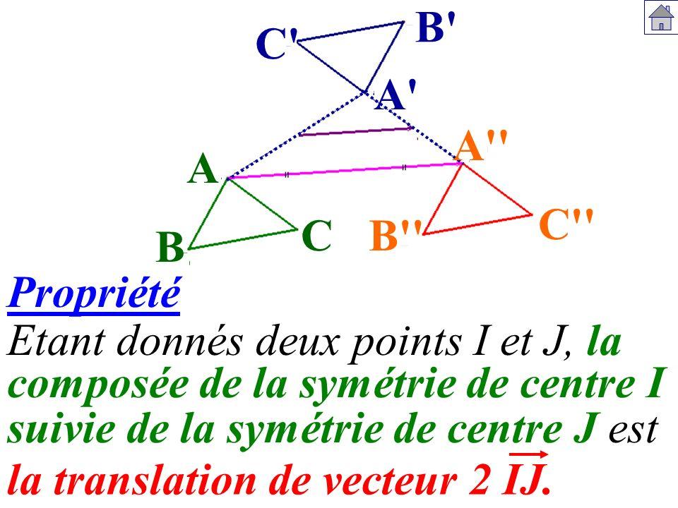 la translation de vecteur 2 IJ. Etant donnés deux points I et J, la A B C A'' B'' C'' A' B' C' composée de la symétrie de centre I suivie de la symétr
