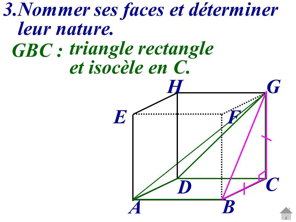 3.Nommer ses faces et déterminer leur nature. C G A B D E H F GBC : triangle rectangle et isocèle en C.